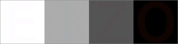 乍看之下,是一系列四个方框,从白到黑颜色渐变,但有一个单词隐藏在其中